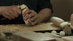 Woodcarving with a knife Stock Footage