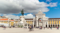 4k timelaspe of commerce square - Parça do commercio in Lisbon - Portugal - UHD - stock footage