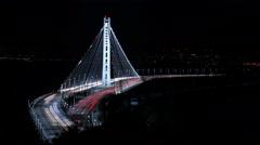 4K SF Bay Bridge Timelapse 03 Night Traffic Tilt Down Stock Footage