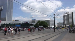 ULTRA HD 4K Tram pass pedestrian people Alexanderplatz Berlin landmark traffic Stock Footage