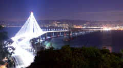 4K SF Bay Bridge Timelapse 04 Night Traffic Pan R Stock Footage