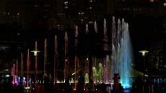 Tourists Enjoying Music Fountain with Illumination at Night - stock footage