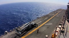 US Navy Time Laps MH-60 Helicopter Flight Deck Stock Footage