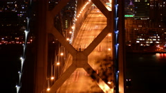 4K SF Bay Bridge Timelapse 09 Night Traffic Tilt Up Stock Footage