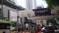 Electronic Road Pricing (ERP) on Singapore road - stock footage