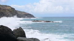 Rough surf on rocky Caribbean island coast Stock Footage