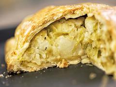 rustic leek and potato pie - stock photo