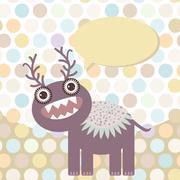 Polka dot background, pattern. Funny cute monster on dot background. Vector - stock illustration