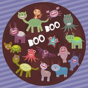 Stock Illustration of Funny frightening monsters on purple striped background party card design. Ve