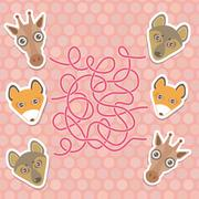 Funny giraffe, fox, wolf labyrinth game for Preschool Children. Vector Stock Illustration