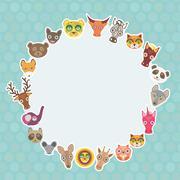Funny Animals card template. White circle on light blue Polka dot background. - stock illustration