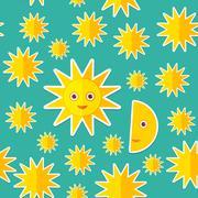 Sun Moon Stars on blue night sky seamless pattern. Modern style flat. Vector - stock illustration