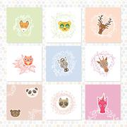 Greeting card set. Funny Animals. floral borders. Sketch frames, hand-drawn.  Stock Illustration