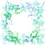 Spring background, wreath with green mint leaves, watercolor. Round banner fo Stock Illustration