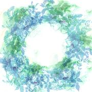 Spring background, wreath with mint green leaves, watercolor. Round banner fo - stock illustration