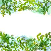 Spring background, wreath with green leaves, watercolor. banner for text. Vec - stock illustration
