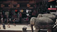 Taumadhi Square next to the Nyatpola Temple in Bhaktapur, Nepal Stock Footage