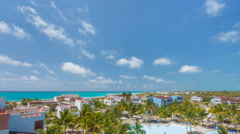 4k time lapse View on hotel and swimming pool Stock Footage