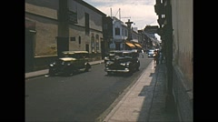 Vintage 16mm film, Amazon basin, traffic in town, with people 1950s Stock Footage