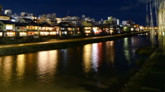 Time Lapse of Historic Kamogawa River in Kyoto at Night -Close Up 1- Stock Footage