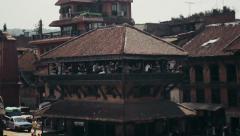 Cafe Nyatapola at Taumadhi Square in Bhaktapur, Nepal Stock Footage