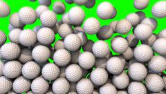Golf balls fill screen transition composite overlay Stock Footage