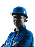man construction worker silhouette portrait - stock photo