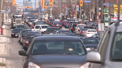 Heavy traffic gridlock in the city streets of Toronto Stock Footage