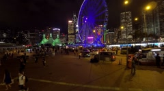 Cityscape, Hong Kong, ferris wheel night view. Stock Footage