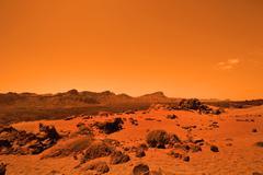 Deserted terrestial planet in orange colors - stock photo