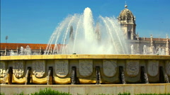 Fountain located in the Belem district of Lisbon Stock Footage