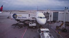 Aircraft at gate ready for boarding Stock Footage