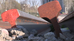 New railway tracks lie on track bed for new rapid light rail transit system Stock Footage