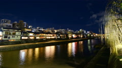 4K Time Lapse of Historic Kamogawa River in Kyoto at Night -Close Up- Stock Footage