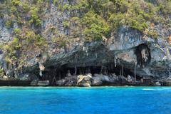 Viking cave where bird's nests are collected. Phi-Phi Leh island, Thailand Stock Photos