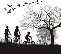 Family cycling in the countryside - stock illustration