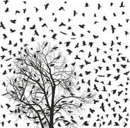 Flock of crows over tree Stock Illustration