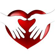 Hands heart hug Stock Illustration