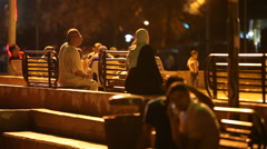 A meeting place for people at night Stock Footage