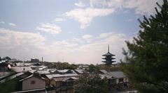 Time Lapse of Yasaka Tower -a historic 5-Story Pagoda in Kyoto, Japan -Tilt Down Stock Footage