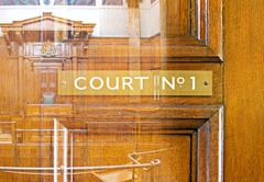 Double exposure image of crown court interior - stock photo