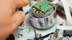 repair video equipment, hi-fi video head S-VHS - stock footage