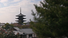 Time Lapse of Yasaka Tower -a historic 5-Story Pagoda in Kyoto, Japan -Pan Left- Stock Footage