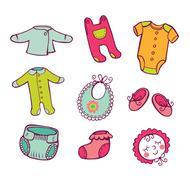 Infant clothes Icon set Stock Illustration
