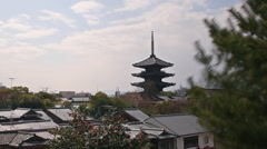 Time Lapse of Yasaka Tower -a historic 5-Story Pagoda in Kyoto, Japan -Zoom Out- Stock Footage