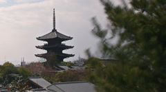 Time Lapse of Yasaka Tower -a historic 5-Story Pagoda in Kyoto Japan -Long Pan L Stock Footage