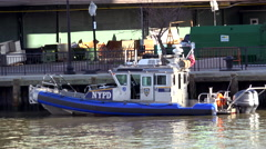 NYC Police boat at the pier. NYC, USA - stock footage