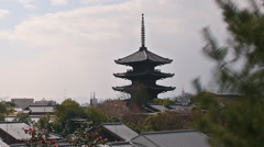 Time Lapse of Yasaka Tower -a historic 5-Story Pagoda in Kyoto, Japan -Close Up2 Stock Footage