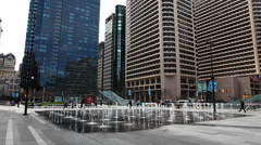 Fountains near Philadelphia, Pennsylvania city hall Stock Footage
