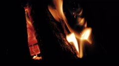 Fire burning with a beautiful flame in a fireplace - stock footage
